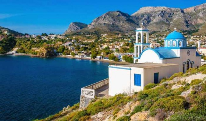 A village on Kalymnos seen in photo from Discover Greece