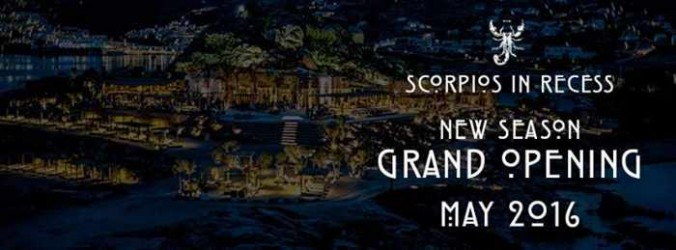 Scorpios Mykonos promotional image for May 2016 season opening