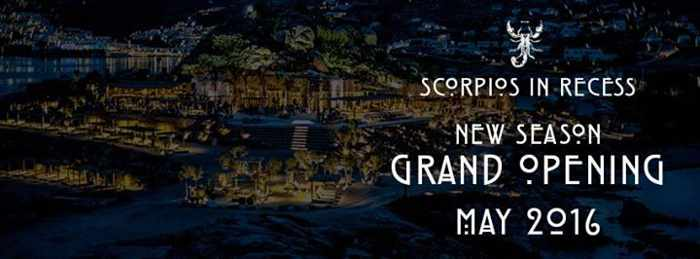 Scorpios Mykonos promotional image for May 2016 season opening