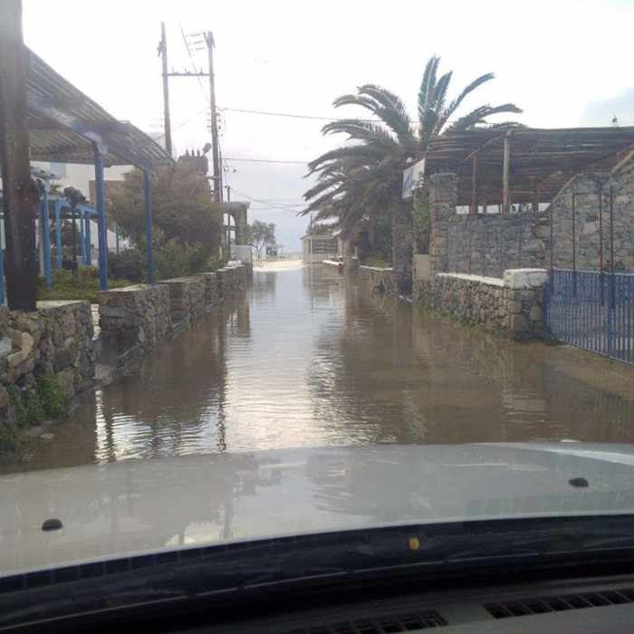 Flooded road at Ornos Mykonos