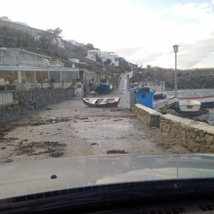 Sikiniotis Lefteris photo of storm damaged road at Ornos Mykonos