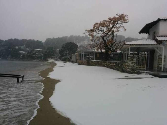 Snow at Achliadas Skiathos photo 02 shared on Facebook by Sakis Zlatoudis