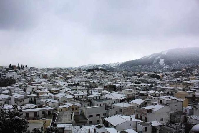 Skiathos Life Facebook page photo of snow on Skiathos