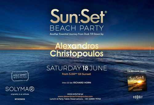 Sun Set beach party by Alexandros Christopoulos at Solymar Mykonos