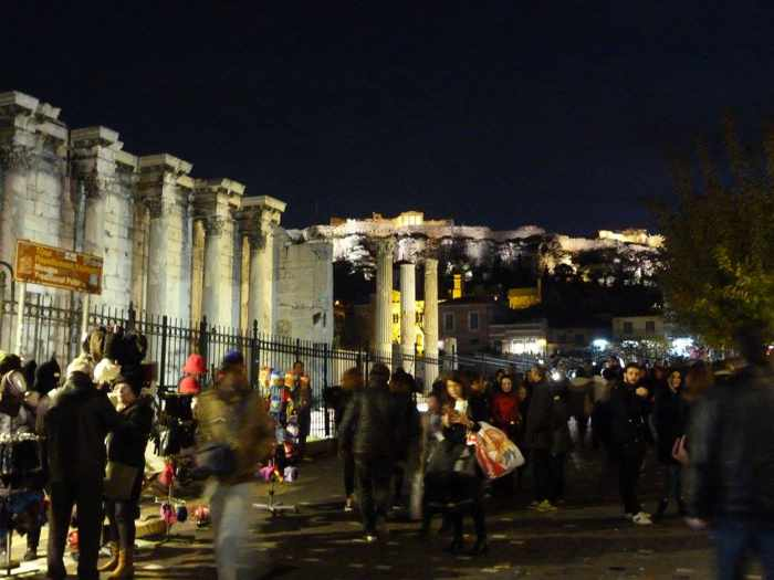 Athens winter night view photo by Wendy Gilops