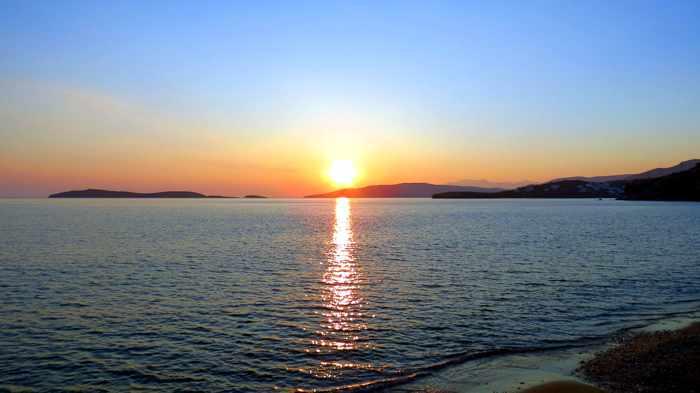 sunset view from Agia Marina taverna