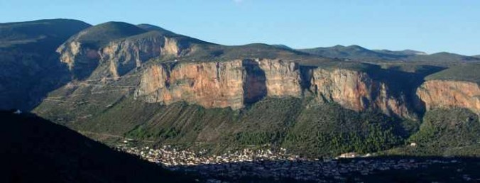 mountain face near Leonidio Greece