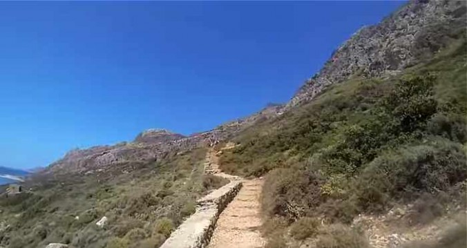 Hillside steps to Balos seen in screen capture from Balos & Gramvousa video