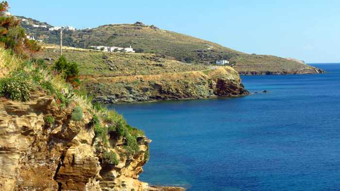 sea and coast at Stivari on Andros