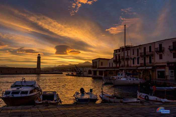 Rethymno old port at dusk in January
