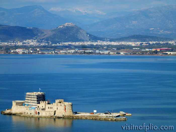 Nafplio Bourtzi castle photo from Visit Nafplio Facebook page