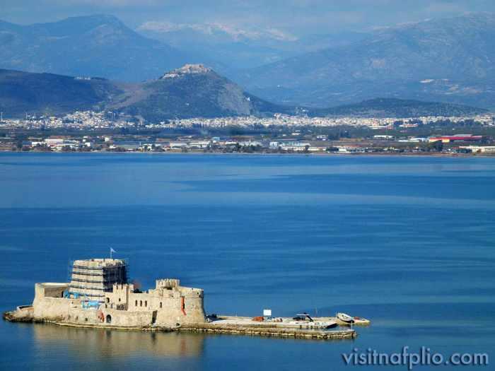 Nafplio Bourtzi castle photo from Visit Nafplio Facebook page