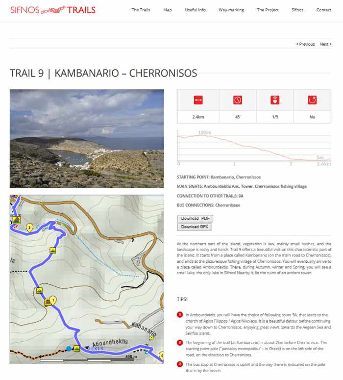 Sifnos Trails information page for one of the 19 walking routes