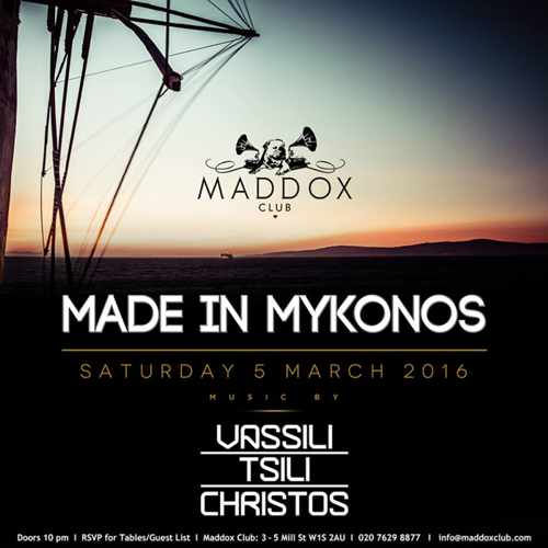Vassili Tsili Christos Made in Mykonos event at Maddox Club London
