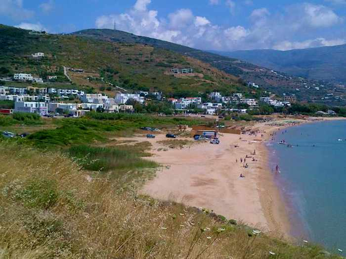 Agios Petros beach on  Andros