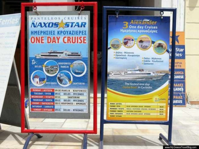 Day cruises from Naxos on the Naxos Star and the Alexander