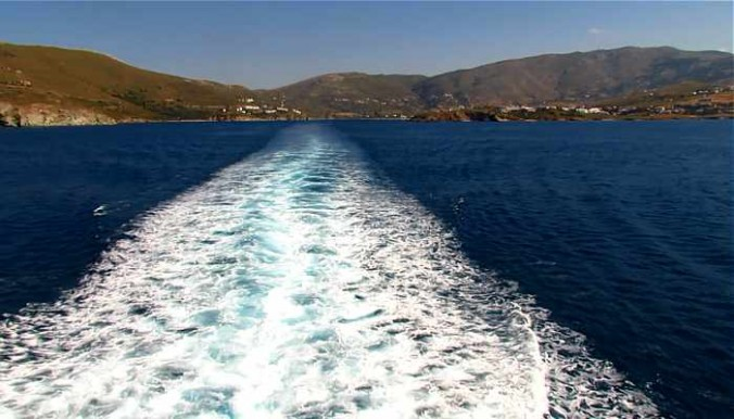 Departing Gavrio bay on Andros