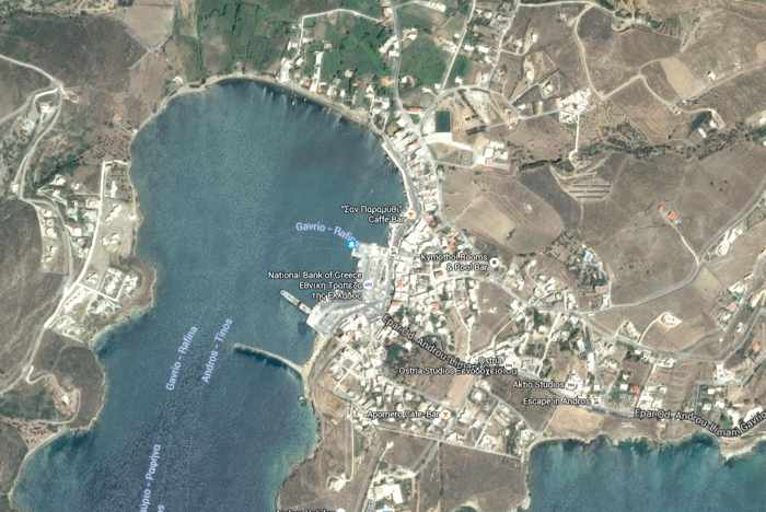 Satellite view of Gavrio village on Andros