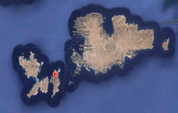 Google map showing Delos location between Rinia and Mykonos islands