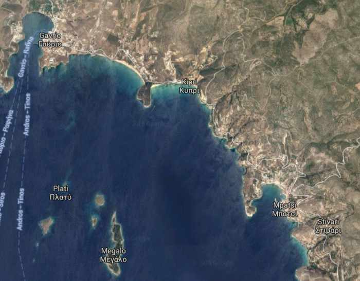 Google map of Andros coastline