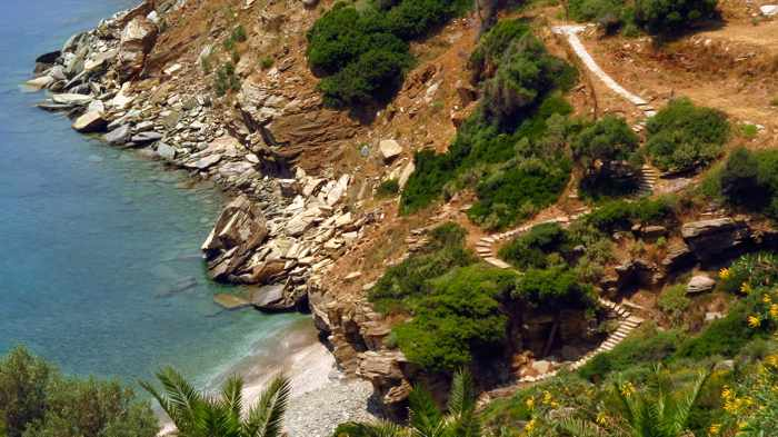 steps leading to a cove on Andros