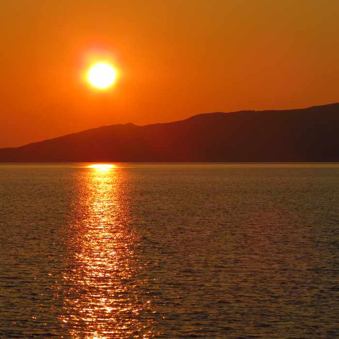 sunset view from Agia Marina beach