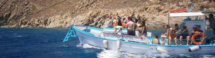 Mykonos Cruises wooden boats at Mykonos