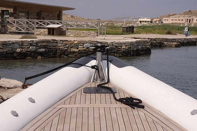 Mykonos Rib Cruising website photo of its rib boat docked at Delos harbour