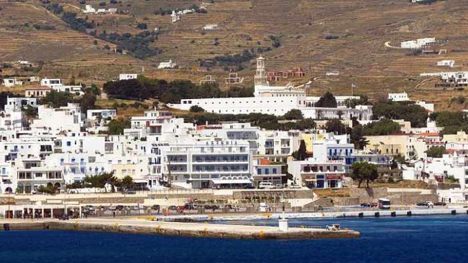 Tinos Town viewed from a departing ferry