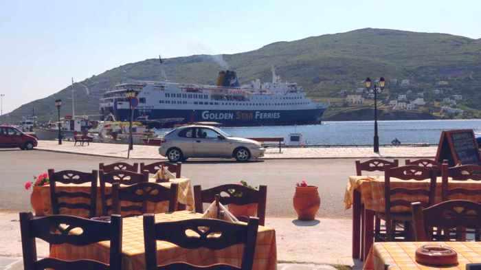 View from Archondiko restaurant in Gavrio