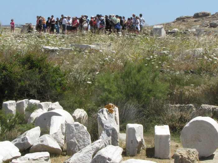 a group tour on Delos