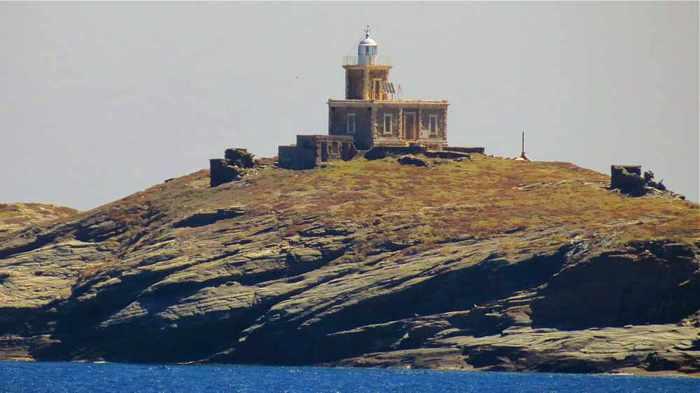 a lighthouse on Tinos