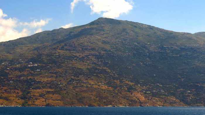 a mountain on Andros