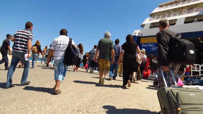 boarding the Blue Star Patmos ferry