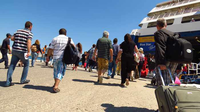 boarding the Blue Star Patmos ferry