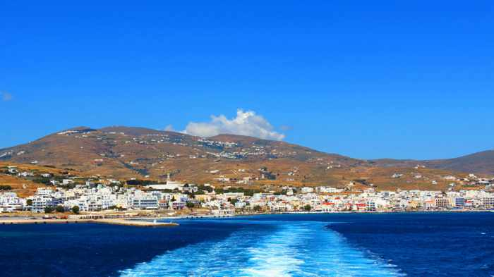 departing Tinos port