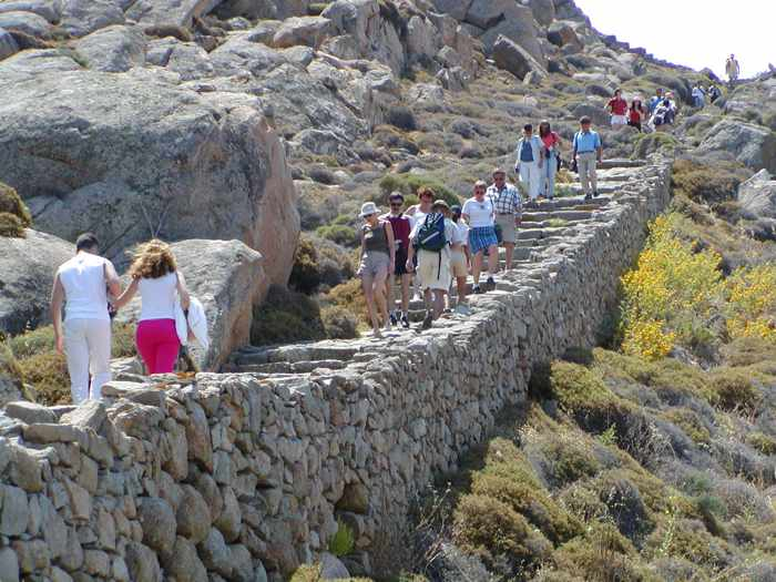 steps to the summit of Mt Kynthos on Delos island