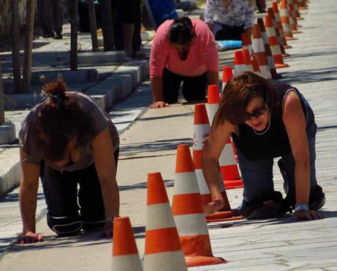 pilgrims on Megalocharis Street in Tinos