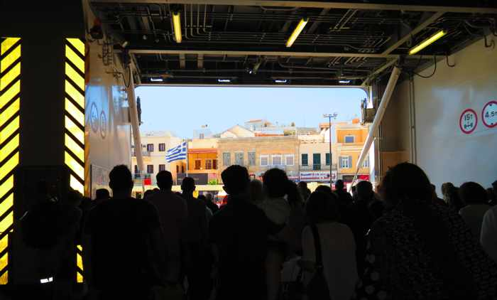 preparing to disembark the ferry at Syros