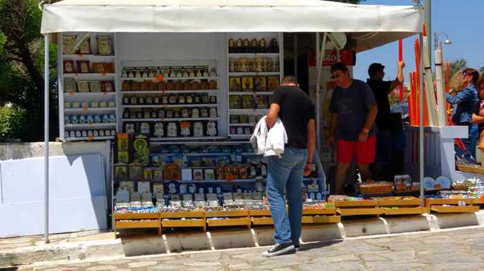 souvenir and candle kiosk on Megalocharis Street