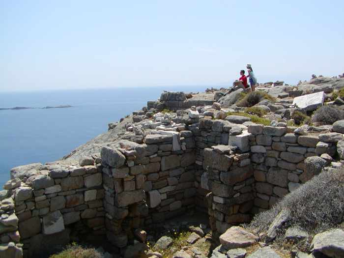 Tourists atop Mt Kynthos on Delos island