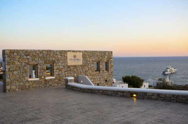 Seethrough Mykonos resort driveway