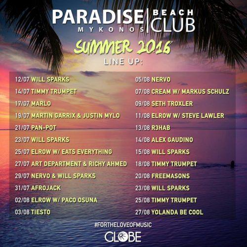 Paradise Club Mykonos summer DJ lineup 2016
