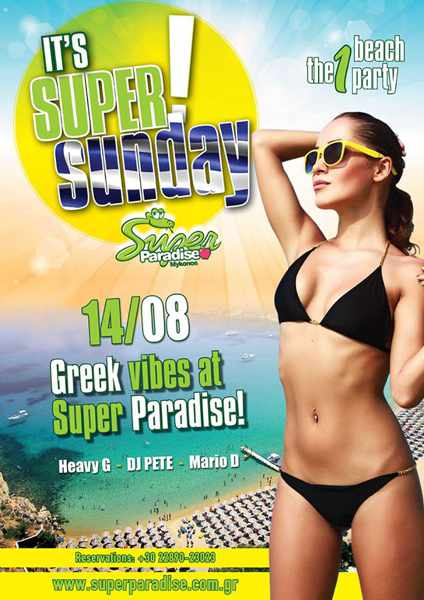Super Sunday party at Super Paradise beach Mykonos