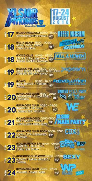 XLSIOR Mykonos Festival 2016 party program