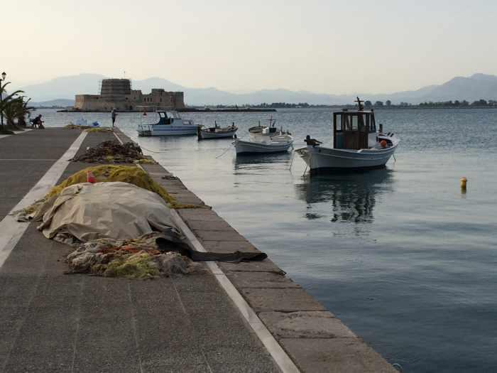 Nafplio harbour view to the Bourtzi Castle