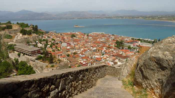 Nafplio viewed from Palamidi Castle steps