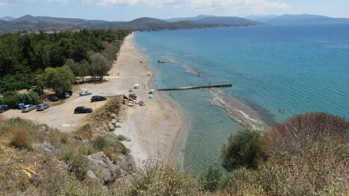 Plaka beach and Kastraki beach near Tolo