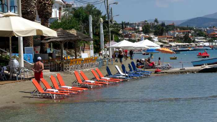 lounge chairs on Tolo beach