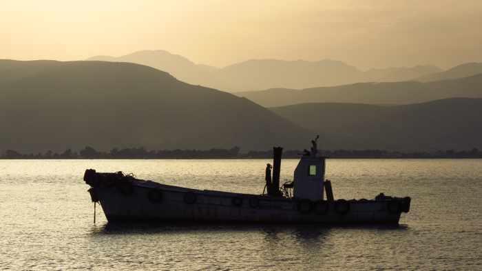 a fishing boat in Nafplio bay